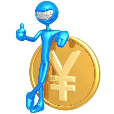 emote: Smiling With Yen Coin Stock Photo