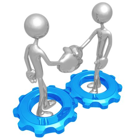 Handshake Gears Stock Photo - 4410794