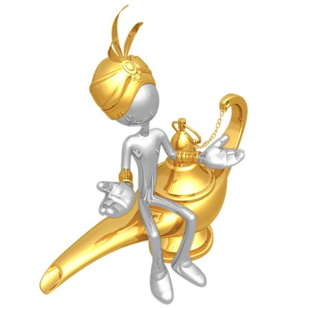 magic lamp: Djinn With Magic Lamp Stock Photo