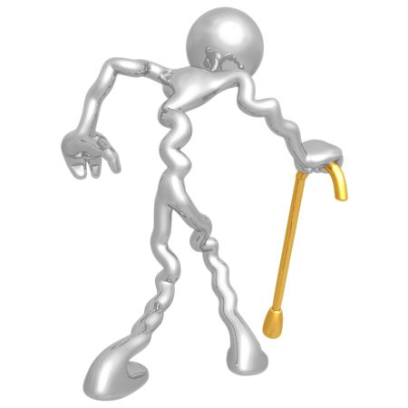 crippled: Old Man Walking With Cane Stock Photo