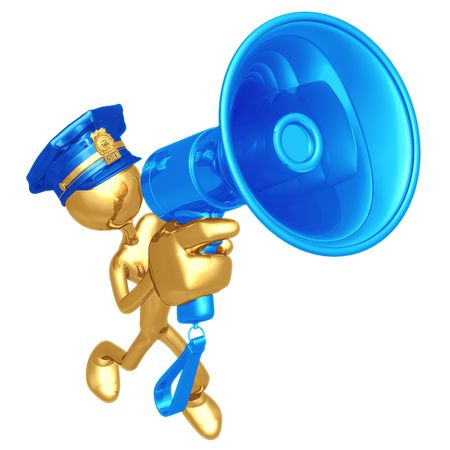 Golden Police Officer With Megaphone photo