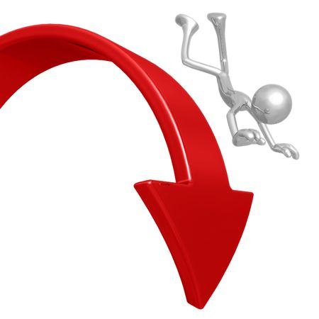 downward: Falling Off Downward Market Arrow