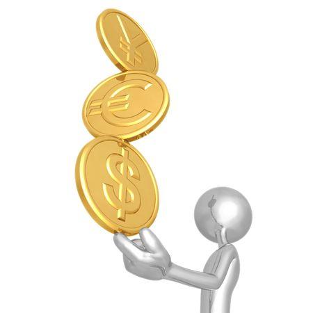 fingertip: Balancing A Stack Of Gold Yen Euro Dollar Coins On Fingertip Stock Photo