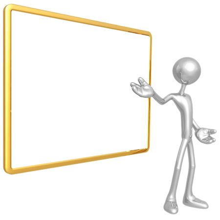 Presenter With Blank Sign Stock Photo - 4387780