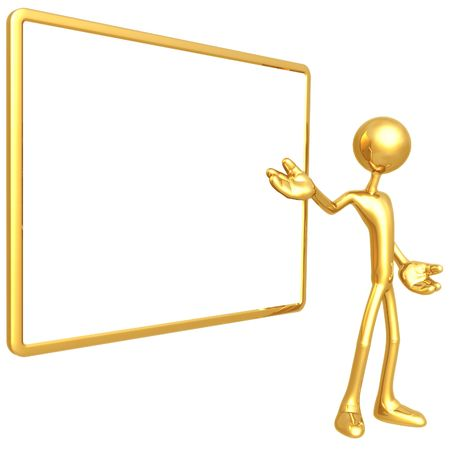 Presenter With Blank Sign Stock Photo - 4387829