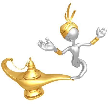 lampe magique: Djinn �chapper lampe magique  Banque d'images