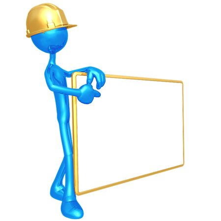 Construction Worker With Blank Sign photo