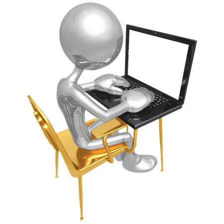 computer education: Student At Desk With Laptop Stock Photo