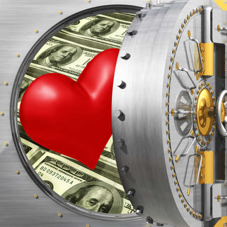 door lock love: Heart In Bank Vault Stock Photo