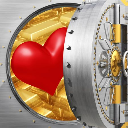 idiom: Heart In Bank Vault Stock Photo