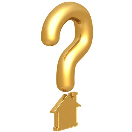 housing problems: Question Mark Realty Stock Photo