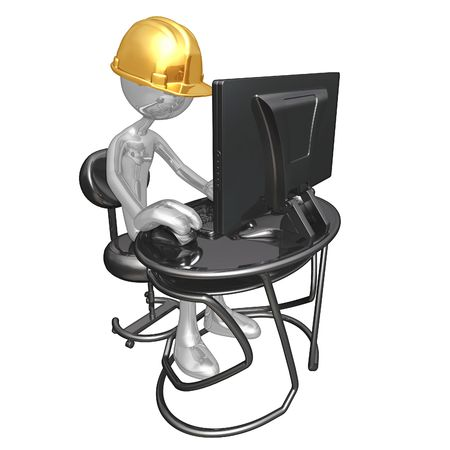 computer: Construction Worker At Computer