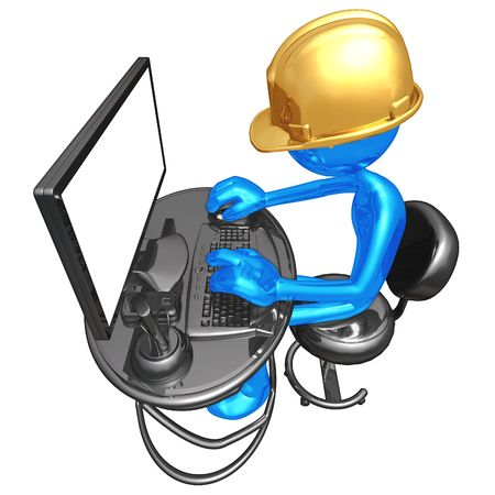 architect: Construction Worker At Computer