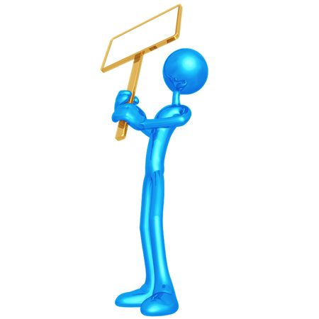 Holding Blank Picket Sign Stock Photo - 4400931