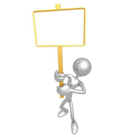 Holding Blank Picket Sign Stock Photo - 4400905