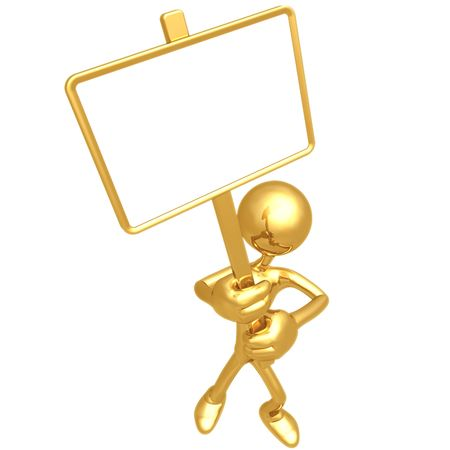 Holding Blank Picket Sign Stock Photo - 4400995