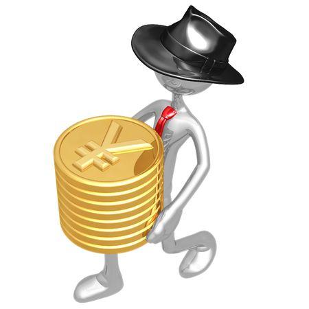 yen: Businessman Carrying Stack Of Gold Yen Coins