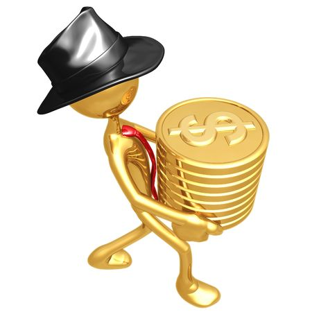 Businessman Carrying Stack Of Gold Dollar Coins photo