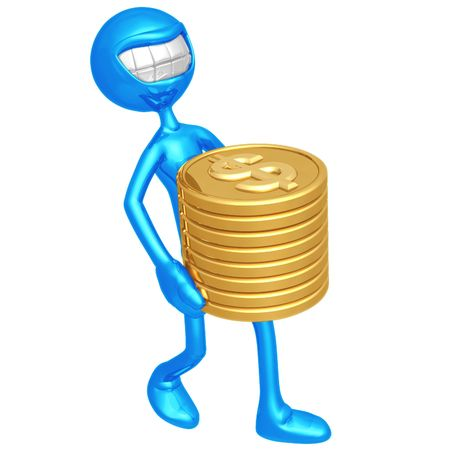 emote: Smiling With Gold Dollar Coins Stock Photo