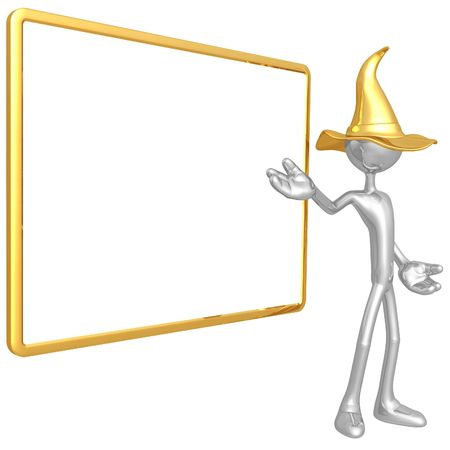 instruct: Wizard With Blank Sign Stock Photo