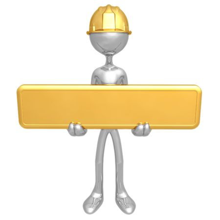 Construction Worker Holding Sign Stock Photo - 4400940