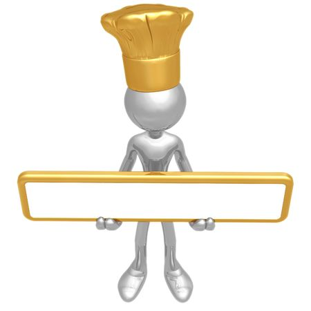 Chef Holding Sign Stock Photo - 4400976