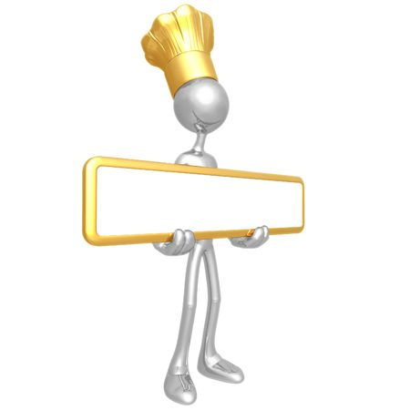 Chef Holding Sign Stock Photo - 4400921