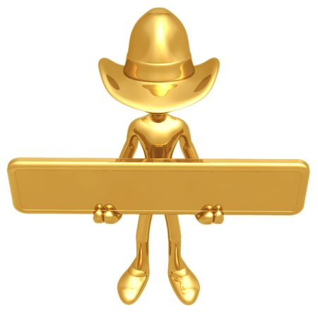Cowboy Holding Sign Stock Photo - 4401008
