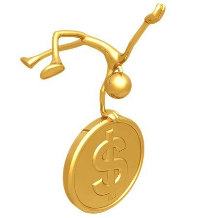elation: Jump For Joy Gold Dollar Coin Stock Photo