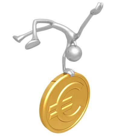 elation: Jump For Joy Gold Euro Coin Stock Photo