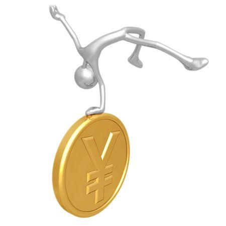 elation: Jump For Joy Gold Yen Coin Stock Photo