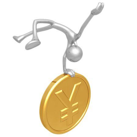 hooray: Jump For Joy Gold Yen Coin Stock Photo