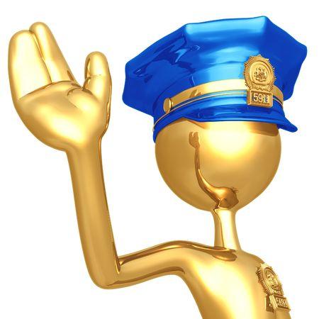Golden Police Officer Waving Stock Photo - 4412024