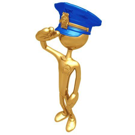 cartoon police officer: Golden Police Officer Salute