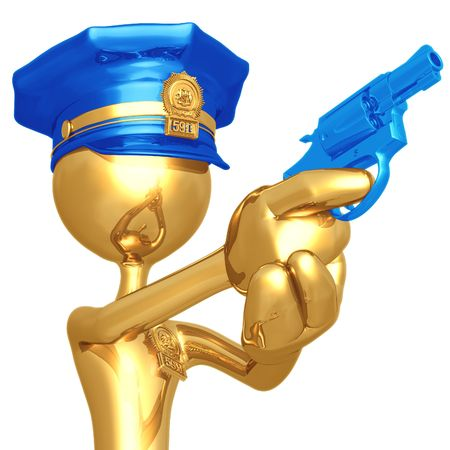 flatfoot: Golden Police Officer With Revolver Stock Photo