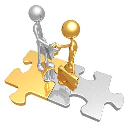 icon idea idiom illustration: Business Connection Puzzle