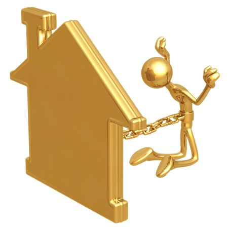 housing problems: Chained To Home Stock Photo