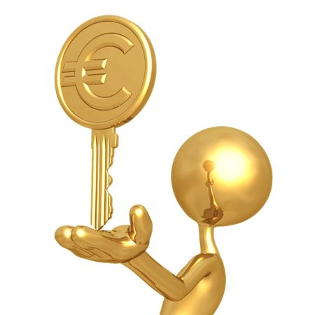 Gold Euro Coin Key photo