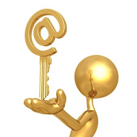 decryption: Golden Email Key Stock Photo