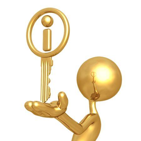 humanoid: Golden Information Key Stock Photo