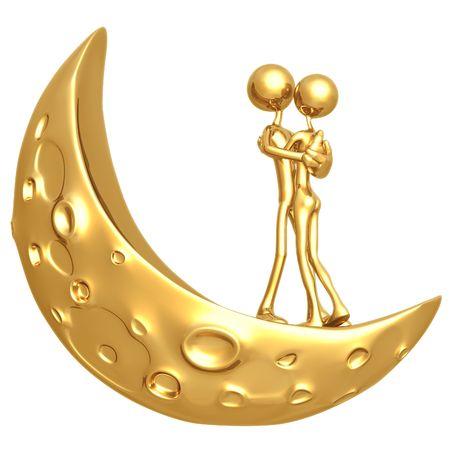 symbolic woman: Lovers Moon Stock Photo