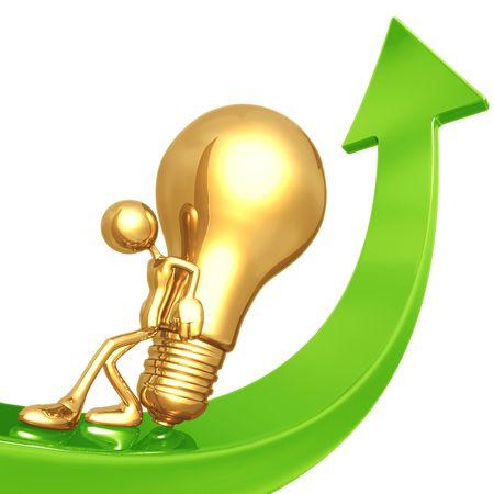 innovate: Pushing Golden Idea Up Arrow