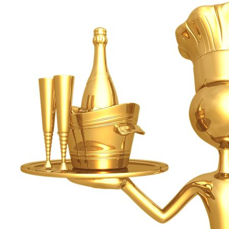 plate of food: Golden Chef Serving Champagne