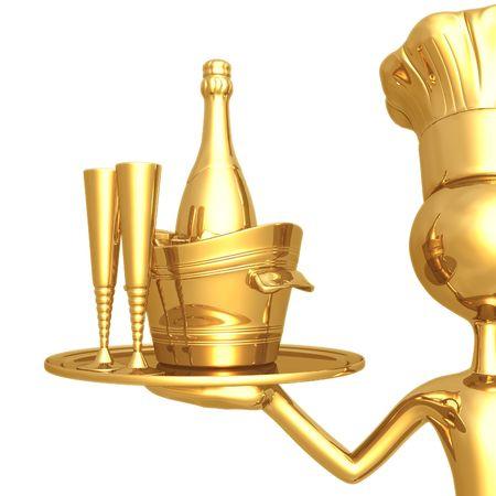 champagne celebration: Golden Chef Serving Champagne