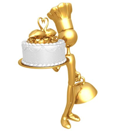 Baker Serving Wedding Cake With Swans In A Heart Shape photo