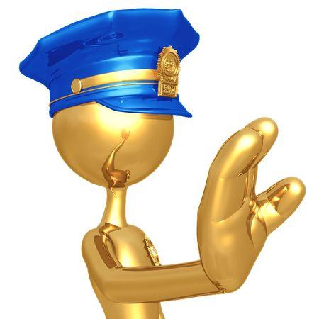 fuzz: Golden Police Officer Stop Gesture Stock Photo