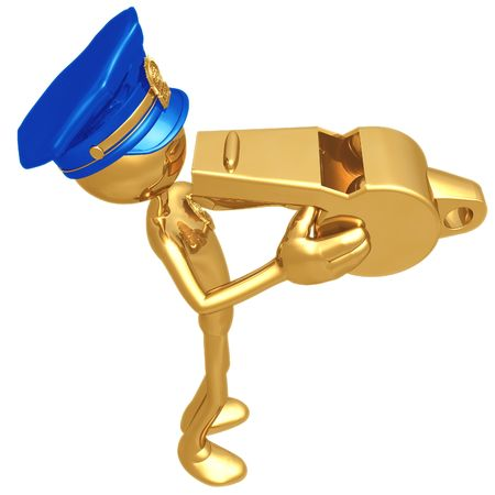 detect: Golden Police Officer Blowing Whistle Stock Photo
