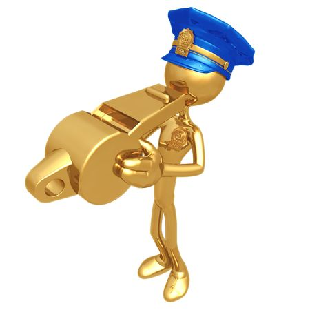 golden: Golden Police Officer Blowing Whistle Stock Photo
