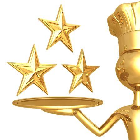 rating: 3 Star Restaurant Rating Stock Photo