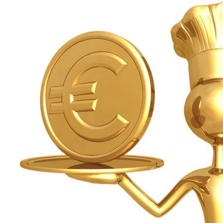 Golden Chef Serving A Euro Coin photo